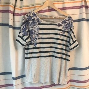 Graphic flower and striped tee